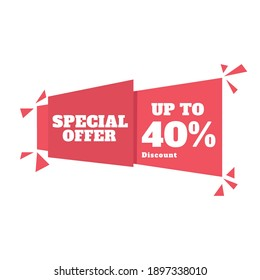 Sale discount tag. Special offer price sign, Discount 40% OFF