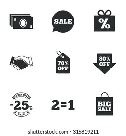 Sale discounts icon. Shopping, handshake and cash money signs. 25, 70 and 80 percent off. Special offer symbols. Flat icons on white. Vector