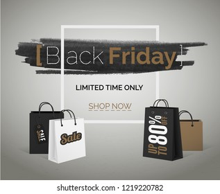 Sale discounts of season vector tbt banner. Black Friday brown white shopping bags with frame.