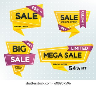 Sale and discounts set of banners. Sale banner template design. Geometric shapes with sharp angles. Vector illustration