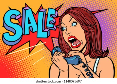 Sale discounts. Woman screams in phone. Comic cartoon pop art retro vector drawing