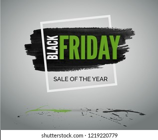 Sale event grunge banner with ink stain, frame, green and black splashes. Black Friday discounts vector web advertisement.
