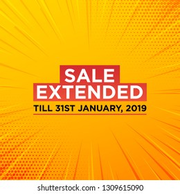 Sale extended label or price tag on yellow background