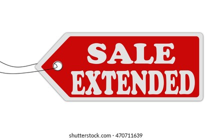 Sale extended red price tag on white background