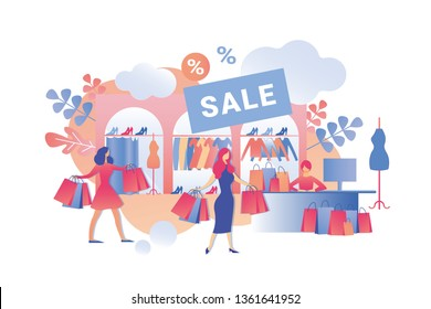 Sale Fashion Clothes in Womens Store Cartoon. Women Buy Clothes and Shoes in Store. Sale Seasonal Items at Great Deals. Information Flyer about Super Sale in Womens Clothing Store.