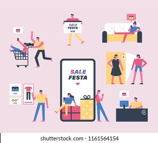 Sale festa mobile app shopping icons and people characters. flat design style vector graphic illustration set