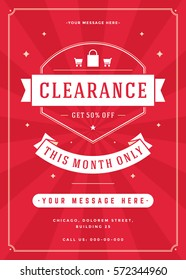 Sale Flyer or Poster Design discount offers and background. Sale retro typography banner template for promotional material. Vector illustration Eps 10.