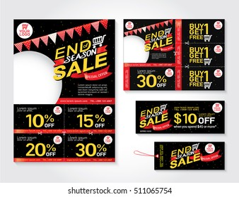 Sale flyer, promotions coupon or banner design with best discount offers, End of year sale, Template background size A4, A5, Vector EPS10.