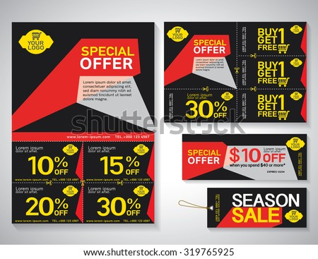 Coupon Flyer | Sale Flyer Promotions Coupon Banner Design Stock Vektorgrafik