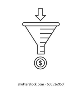 Sale Funnel vector line icon. Internet marketing strategy concept.