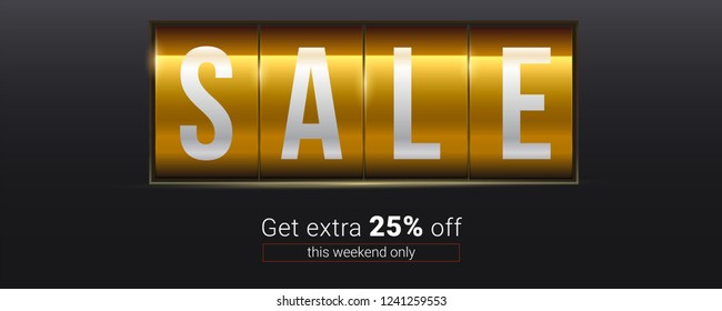 Sale. Get extra 25 percent off. Text about discount on analog mechanical scoreboard. 3d vector illustration. Template for shops and markets. Decoration elements for retail, shopping actions.