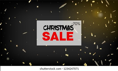 Sale Gold Confetti, Falling Stars, Streamers, Tinsel. Horizontal Magic Sparkles Background. Cool Glamour Christmas, New Year, Birthday Party Holiday Pattern. Gold Confetti, Falling Down Stars.
