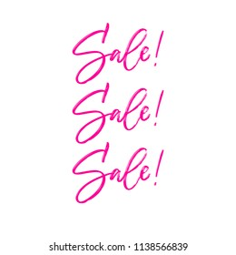 Sale Sale Sale Hand brush calligraphy. Pink lettering on white background. Vector illustration