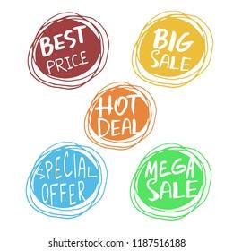 Sale. Hand drawn word tag