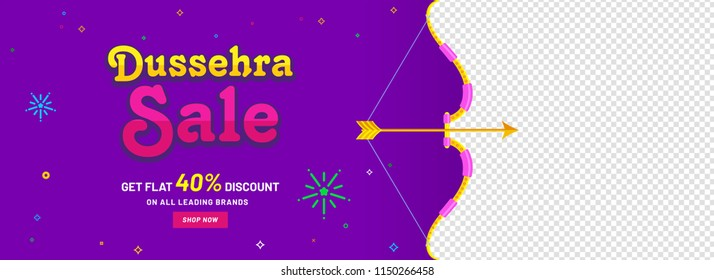 Sale header or banner design for Dussehra festival concept with 40% discount offer and space given for your product image.
