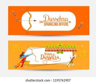 Sale Header Or Sale Banner For Dussehra Celebration.