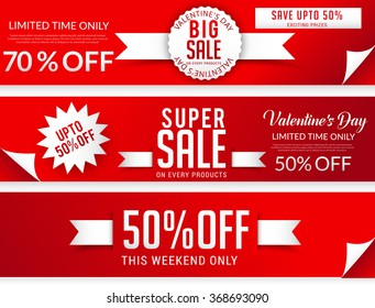 Sale header or banner set with big different discount offer for Happy Valentine's Day  celebration .