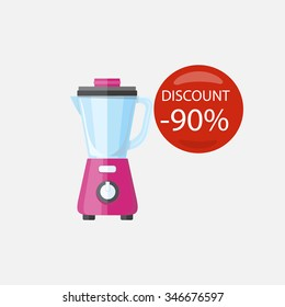 Sale of household appliances. Electronic device red bubble discount percentage. Sale badge label in flat style. Mixer, blender, blend, blender isolated, blender fruit, smoothie, food processor, juicer