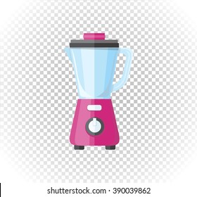 Sale of household appliances. Electronic device red mixer, blender. Mixer logo in flat style. Blender isolated, smoothie food processor, juicer