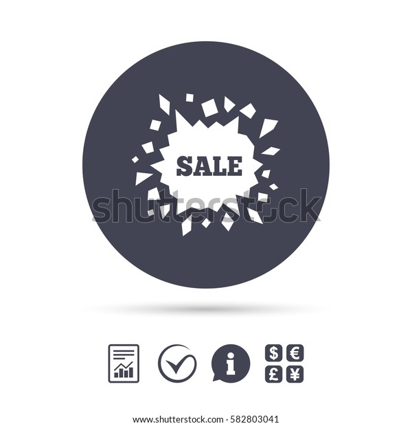 Sale icon. Cracked hole symbol. Report document, information and check tick icons. Currency exchange. Vector