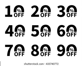 Sale icon set. Discount price off and sales design template. Shopping and low price symbols. 10,20,30,40,50,60,70,80,90 percent sale. Vector illustration.