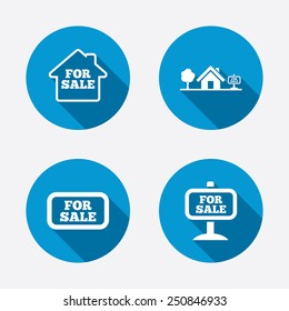 For sale icons. Real estate selling signs. Home house symbol. Circle concept web buttons. Vector