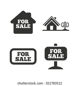 For sale icons. Real estate selling signs. Home house symbol. Flat icons on white. Vector