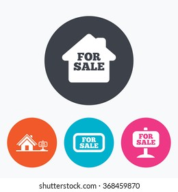 For sale icons. Real estate selling signs. Home house symbol. Circle flat buttons with icon.