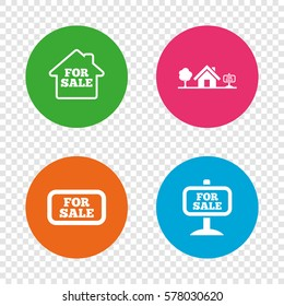 For sale icons. Real estate selling signs. Home house symbol. Round buttons on transparent background. Vector