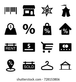 Sale icons set. set of 16 sale filled icons such as home, credit card, explosion, hanger, tent, rent tag, sold tag, lot price, mortgage, store, shopping cart, barcode, percent