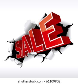 """SALE"" Inscription Break Through White Background. Vector Illustration"
