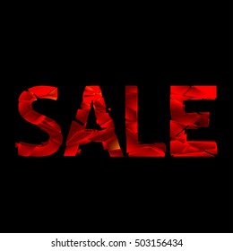 """Sale"" inscription. Broken letters."