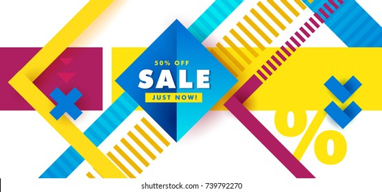 Sale inscription design template. Black Friday banner.  Vector illustration banner sale. Hipster modern geometric abstract background. Bright banner with blue stripes stripes, textured background.