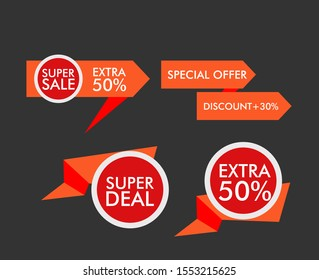 sale label or banner set with badge template icon