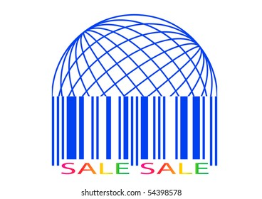 Sale label stylized as a barcode. Vector icon.