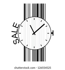 Sale label stylized as a clock and barcode.