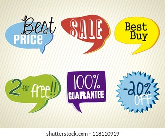 Sale Labels, Best Price, colorful.