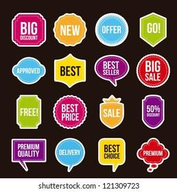 sale labels over black background. vector illustration