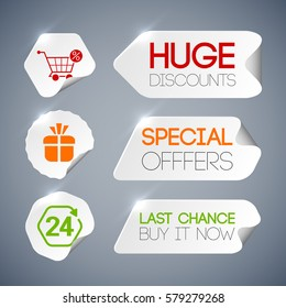 Sale labels set with discounts symbols on grey background paper style isolated vector illustration