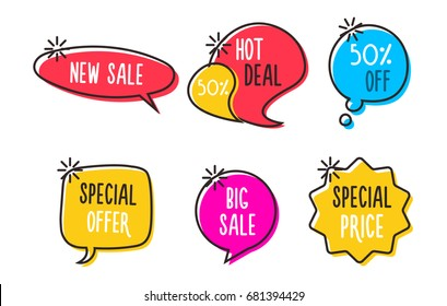 Sale labels, tags, speech bubbles, banners, logos, icons. Hand drawn doodle vector design set