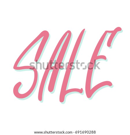 Sale Lettering Banner Modern Pink Calligraphy With Shadow Word Easy To Use As