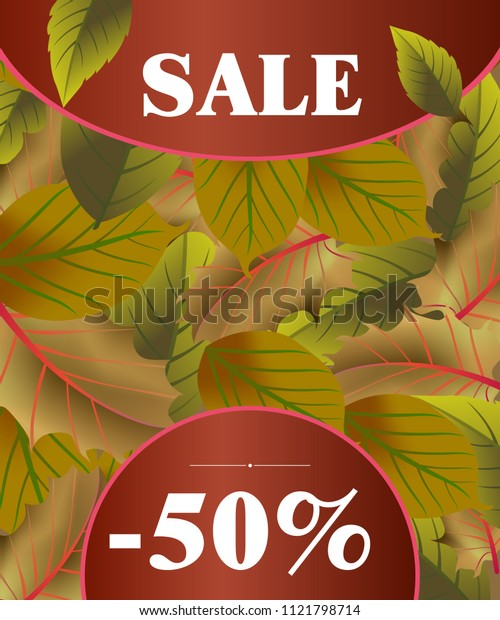 Sale lettering with dark green autumn leaves. Creative inscription on tree leaf background. Illustration with lettering can be used for banner, posters and leaflets