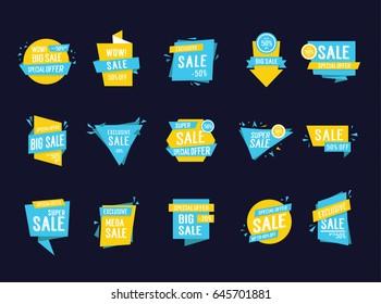 Sale lettering in frames set