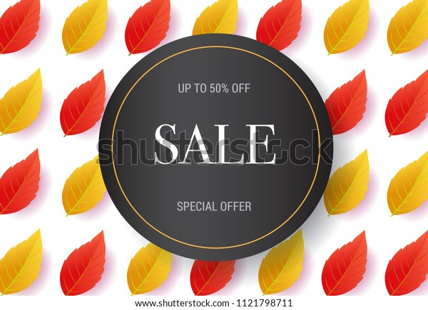 Sale lettering with leaves pattern. Autumn offer or sale advertising design. Typed text, calligraphy. For leaflets, brochures, invitations, posters or banners.