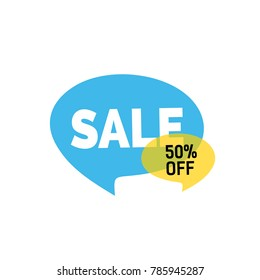 Sale Lettering on Blue Speech Bubble