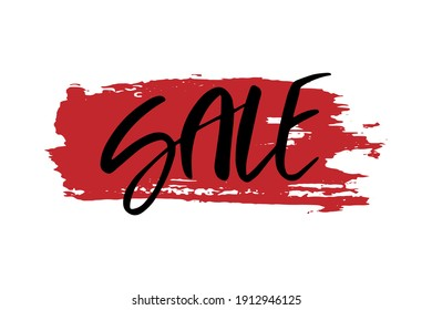 SALE lettering on a red brushstroke background. Bright vector illustration for banners, logos.