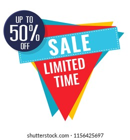 Sale Limited Time Up To 50% Off Triangle Background Vector Image