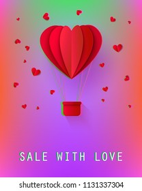 Sale with love poster with papercut origami red hot air balloon with basket in heart shape icon with hearts around. Advertising design, poster template background Vector illustration