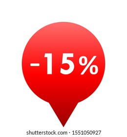 Sale - minus 15 percent - red gradient tag isolated - vector illustration