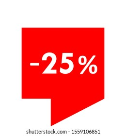 Sale - minus 25 percent - red tag isolated - vector illustration